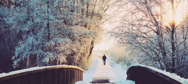 man in walkway in the winter