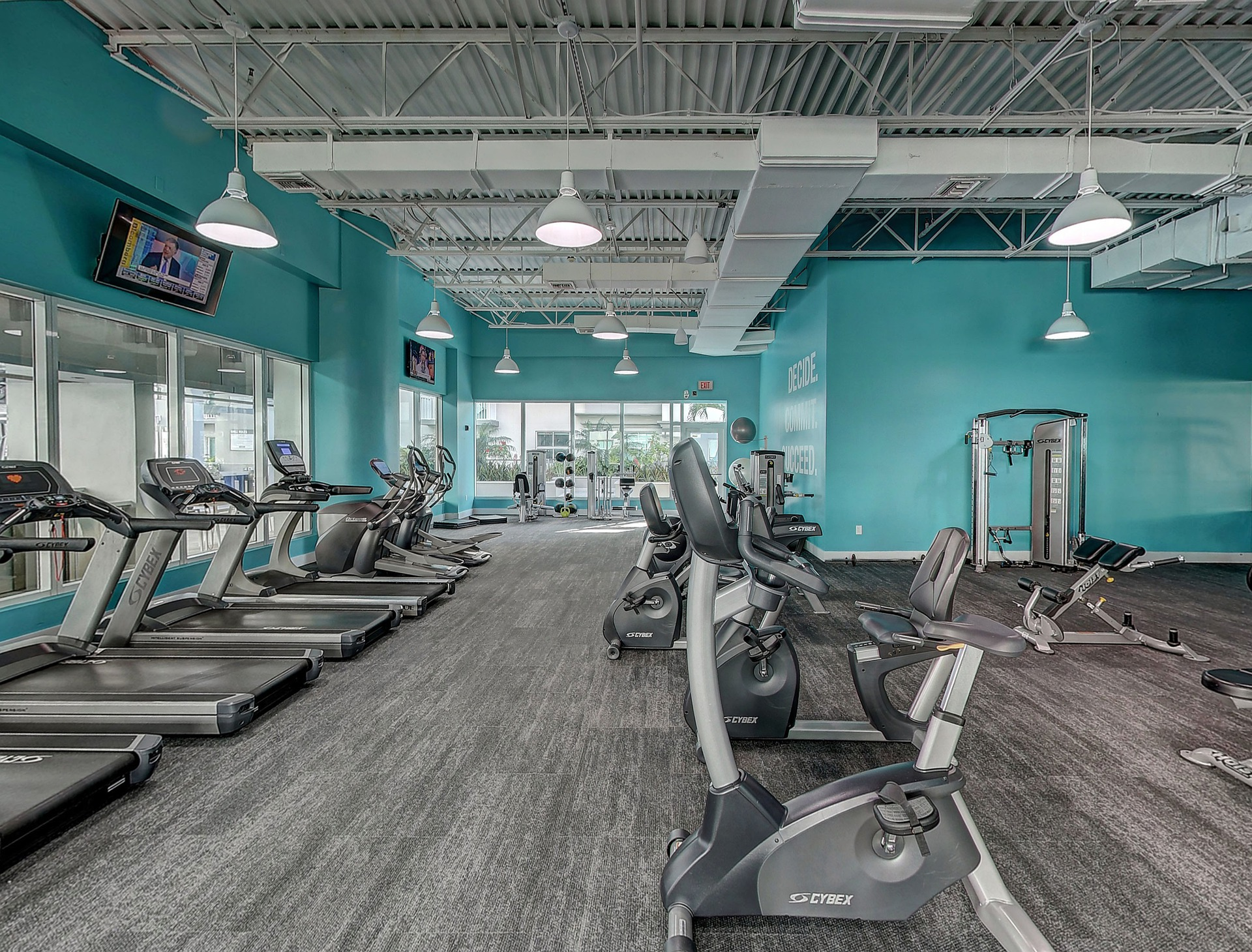 treadmill and gym equipment